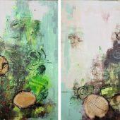 Baumstämme (2014) Duo 60x60 Acryl