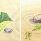 Duo aus Blättern und Steinen (2010) Duo 20x20 Acryl
