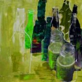 Immer flüssig  (2015) 40x80 Acryl,mixed media